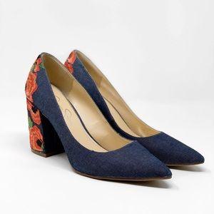 Jessica Simpson Denim Floral Embroidered Heels